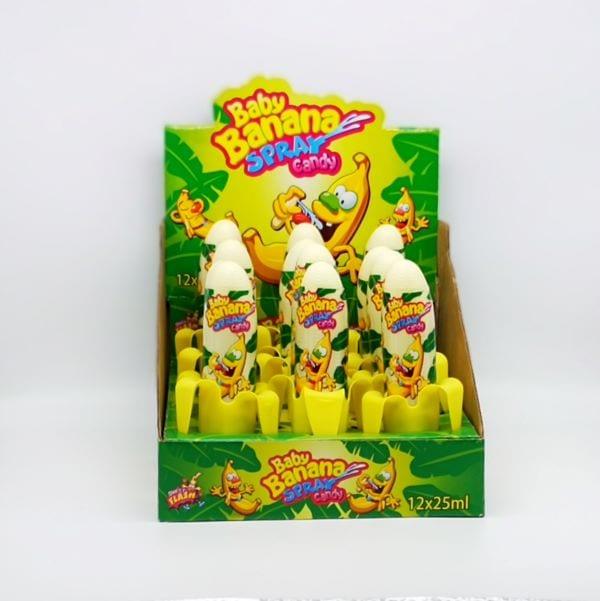 12 Stück Baby-Banana-Sprays im Wld-West-Still im coolen Bahnenenschalen Holster