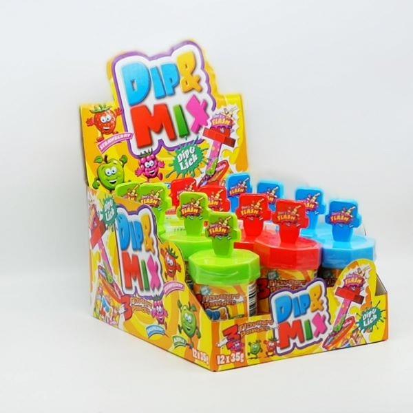 Dip & Mix Lutscher mit Schleckpulver in 3 Geschmacksrichtungen von Drop Shop Schwandtner