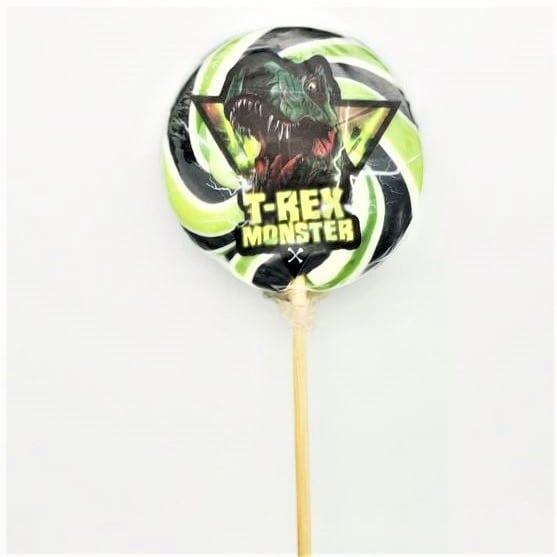 Lollipop in Spiralform miT-Rex Motiv von Drop Shop Schwandtner