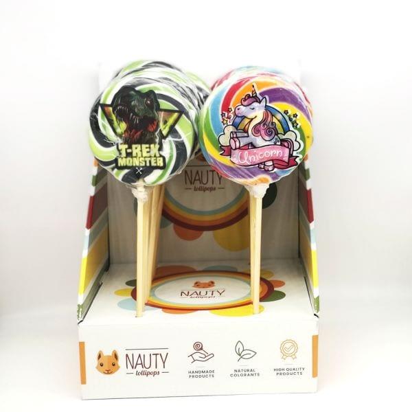 Lollipops mit EInhorn- und T-Rex Motiv von Drop Shop Schwandtner