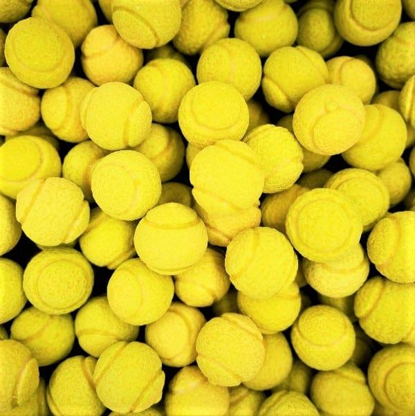 Miniatur-Tennisbälle Kaugummi mit saurem Kern